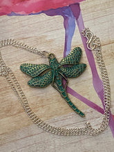 Load image into Gallery viewer, Green Metal Dragonfly Long Silver Chain Necklace. Free Shipping!