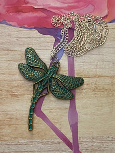 Green Metal Dragonfly Long Silver Chain Necklace. Free Shipping!