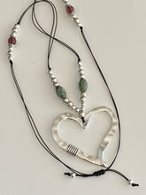 Load image into Gallery viewer, Leather Silver Balls Handmade Beads Necklace Heart Pendant. Free Shipping!