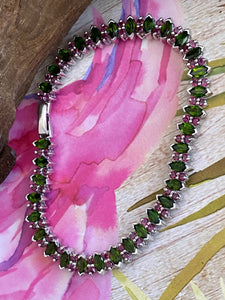 Bracelet AAA Green Chrome Diopside & Ruby Precious Gemstones 925 Sterling Silver