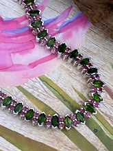 Load image into Gallery viewer, Bracelet AAA Green Chrome Diopside & Ruby Precious Gemstones 925 Sterling Silver