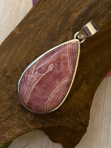 Handcrafted Rhodochrosite Pendant Solid Sterling Silver Jewelry.