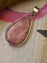 Load image into Gallery viewer, Handcrafted Rhodochrosite Pendant Solid Sterling Silver Jewelry.