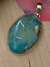 Load image into Gallery viewer, Silver / Turquoise Pendant mounted in Solid Sterling Silver Jewelry.