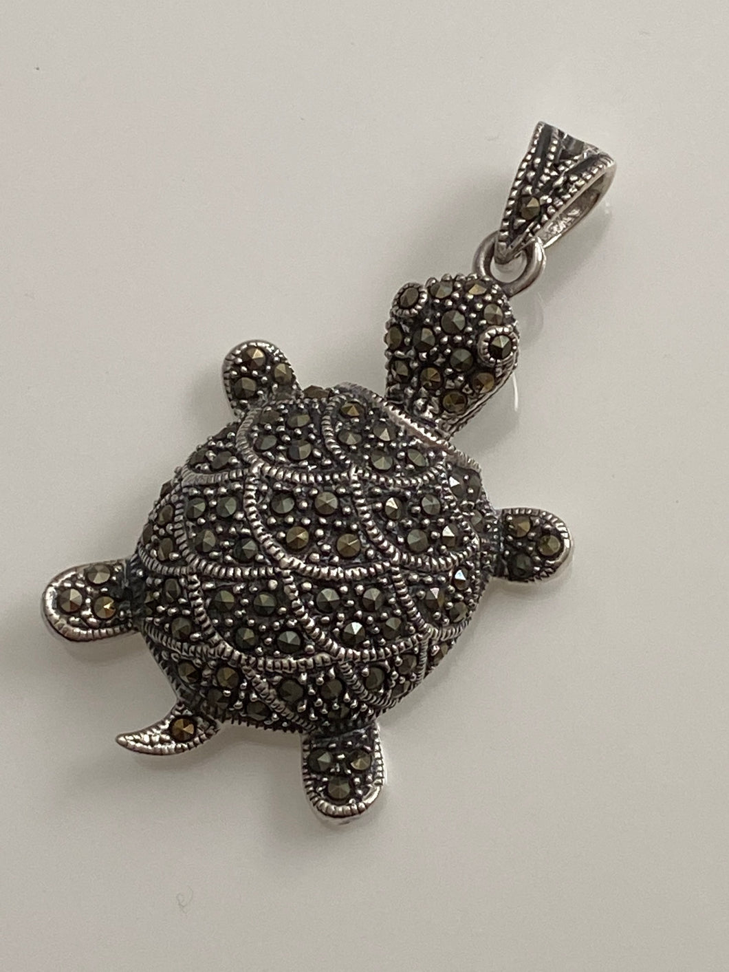 Marcasite Turtle Pendant Solid Sterling Silver w/free Chain . Vintage. Free Shipping