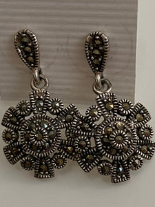Circle / Flower like Marcasite Earrings Solid Sterling Silver Vintage