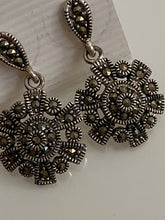 Load image into Gallery viewer, Circle / Flower like Marcasite Earrings Solid Sterling Silver Vintage