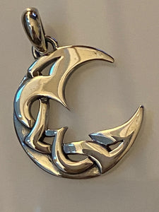 Moon Pendant 925 Sterling Silver Jewelry. Free Silver Plated Chain. Free Shipping!