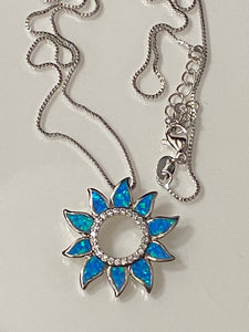 Fire Opal Beautiful Sun Flower & White Cz Pendant. Sterling Silver.W/Chain.Free Shipping !!*.*!!