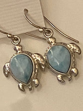 Load image into Gallery viewer, Larimar Turtle.Dangling Earrings.Sterling Silver.Free Shipping!!