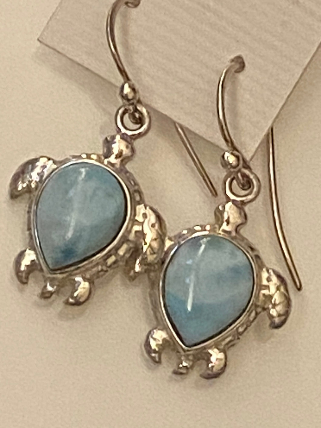 Larimar Turtle.Dangling Earrings.Sterling Silver.Free Shipping!!