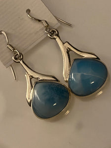 Larimar Teardrop & Sterling Silver Dangling Earrings..Free Shipping!!