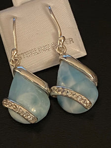 Larimar & White Topaz Teardrop Dangling Earrings.Sterling Silver.Free Shipping!!