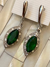 Load image into Gallery viewer, Handcrafted Earrings Gemstones Emerald & White Topaz. Sterling Silver.Free Shipping