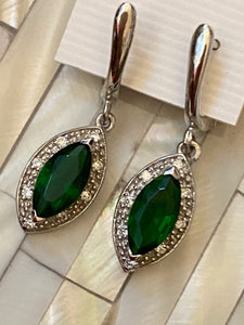 Handcrafted Earrings Gemstones Emerald & White Topaz. Sterling Silver.Free Shipping