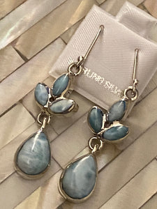 Larimar & Sterling Silver Dangling Earrings..Free Shipping!!