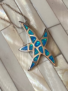 Blue Fire Opal Starfish Pendant Solid Sterling Silver CHain. Free Shipping !