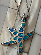 Load image into Gallery viewer, Blue Fire Opal Starfish Pendant Solid Sterling Silver CHain. Free Shipping !