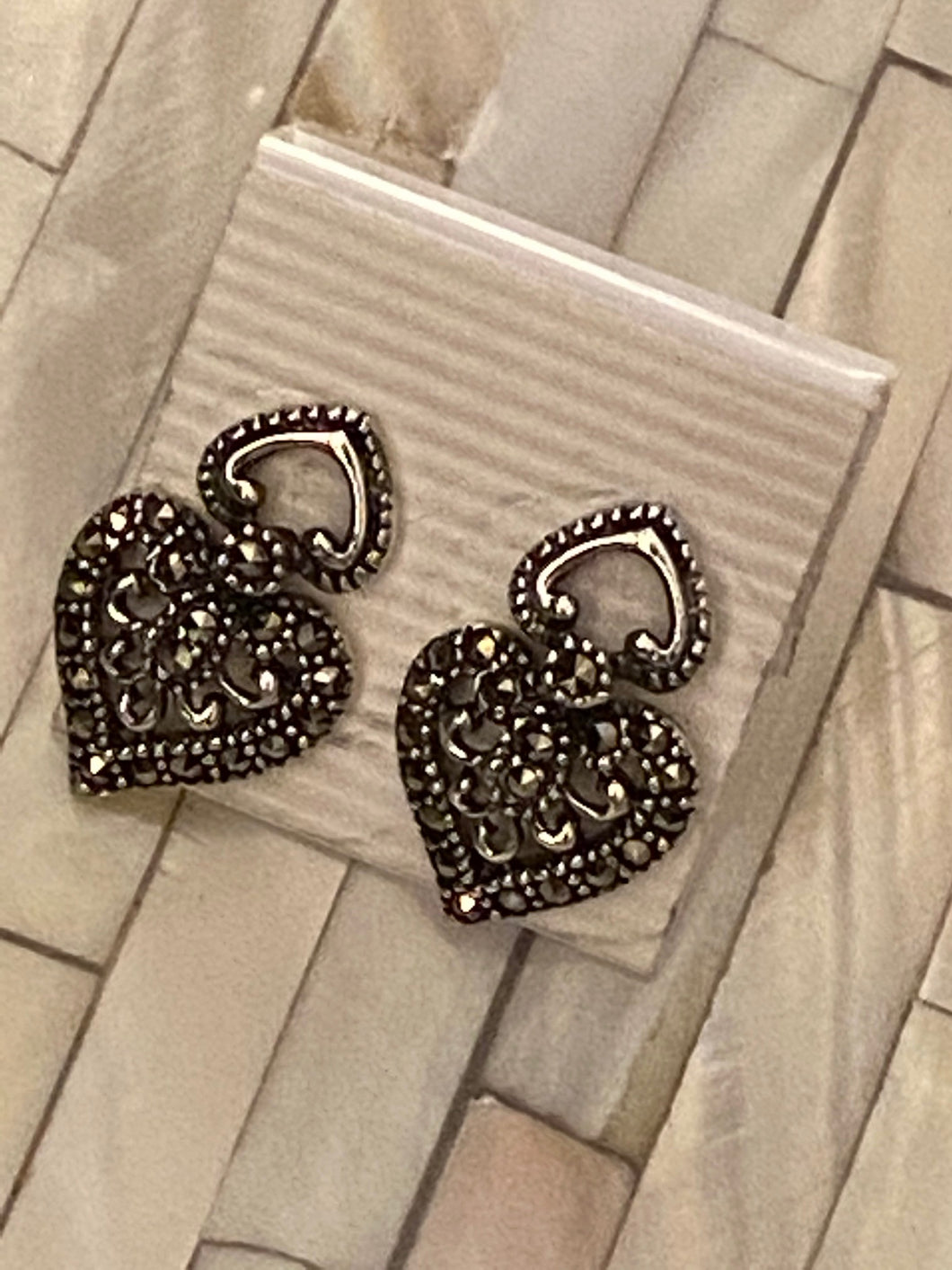 Heart Marcasite Earrings Solid Sterling Silver Vintage , Free Shipping