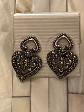 Load image into Gallery viewer, Heart Marcasite Earrings Solid Sterling Silver Vintage , Free Shipping