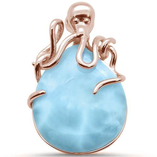 Rose Gold Plated Natural Gemstone Larimar Pendant Octopus. Free Silver Chain plated