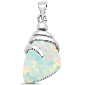 White Fire Opal. Gemstone Pendant Sterling Silver + Sterling Silver plated Chain. Free Shipping !