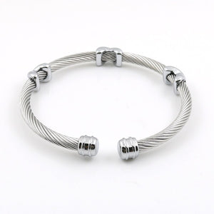 Classical Charm Stainless Steel Cuff Bangle Bracelet Cable Twist Wire Stripe Jewelry