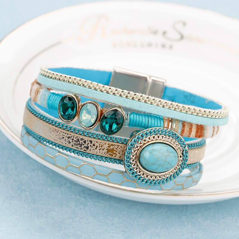 Leather Bracelet Fashion BOHO Blue Turquoise Crystals & Rhinestone Beads Magnet Clasp