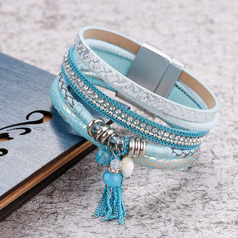 Leather Bracelet Fashion BOHO Blue Crystals & Rhinestone Beads Magnet Clasp