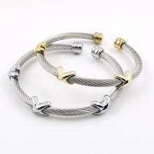 Load image into Gallery viewer, Classical Charm Stainless Steel Cuff Bangle Bracelet Cable Twist Wire Stripe Jewelry