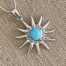 "Load image into Gallery viewer, Sun Pendant Larimar ""the Atlantis Gemstone"" 925 Sterling Silver"