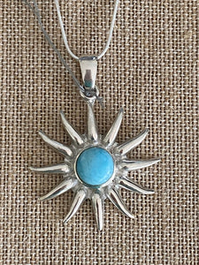 "Sun Pendant Larimar ""the Atlantis Gemstone"" 925 Sterling Silver"
