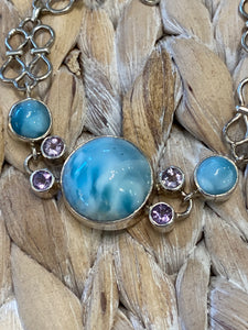 Larimar & Blue Topaz Handcrafted  Sterling Silver 7.5 -9 Inch