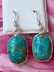 Earrings Handcrafted Kingman Turquoise . Sterling Silver