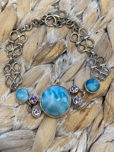 Load image into Gallery viewer, Larimar & Blue Topaz Handcrafted  Sterling Silver 7.5 -9 Inch
