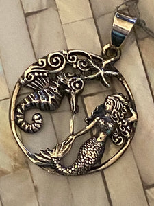 Mermaid & Seahorse Sterling Silver Pendant Jewelry. Free Shipping!