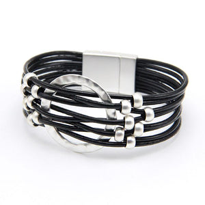 Leather Bracelet bohemian Metal Beads Black Magnet Clasp