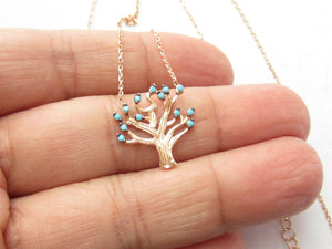 TURKISH ROSE GOLD 925 STERLING SILVER TURQUOISE FAMILY TREE NECKLACE. Free Shipping