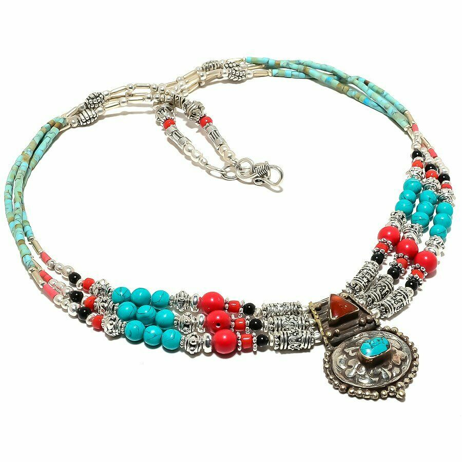 Tibetian Necklace Red Coral, Turquoise & black Onyx Gemstone Handmade 925 Silver 18
