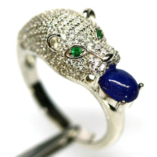 Load image into Gallery viewer, Beautiful Natural Sapphire & White Topaz 925 Sterling Silver Fine Jewelry Size 8