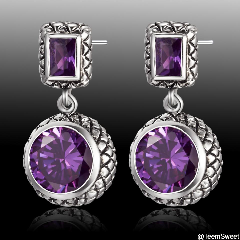 Earrings Amethyst Natural Stones & 925 Sterling Silver Fine Jewelry