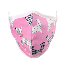 Load image into Gallery viewer, Namase reusable face mask with terrier print on pink fabric