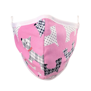 Namase reusable face mask with terrier print on pink fabric