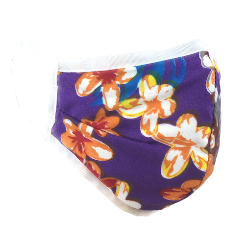 Hawaiian Flowers Purple - Namaske Style Face Mask