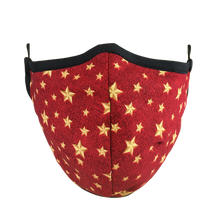 Load image into Gallery viewer, Namaske Reusable Face Masks with Golden Stars on red fabric