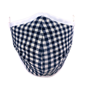 Namaske reusable fabric face mask with blue and white Gingham check pattern