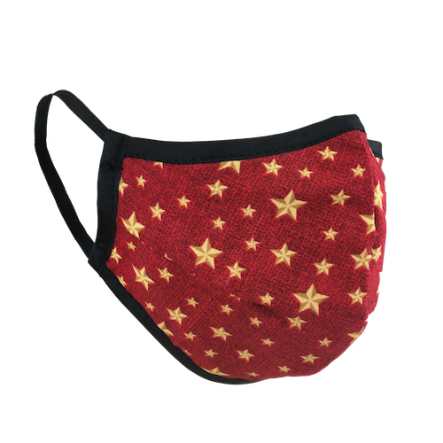 Namaske Reusable Face Masks with Golden Stars on red fabric