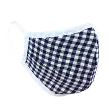 Load image into Gallery viewer, Namaske reusable fabric face mask with blue and white Gingham check pattern