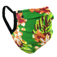 Load image into Gallery viewer, Hawaiian Flowers Green - Surgical Style Face Mask