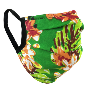 Hawaiian Flowers Green - Surgical Style Face Mask